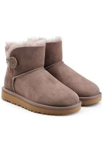 Ugg Ugg Mini Bailey Button Shearling Lined Suede Boots