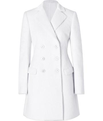 Salvatore Ferragamo Wool Coat In White
