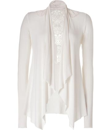 Cream Sewing Circle Cardigan with Lace Detailing