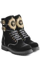 Balmain Balmain Eagle Velvet Ankle Boots With Embroidery - Black
