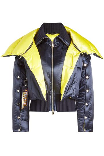 Versace Versace Satin Down Jacket With Wool Details