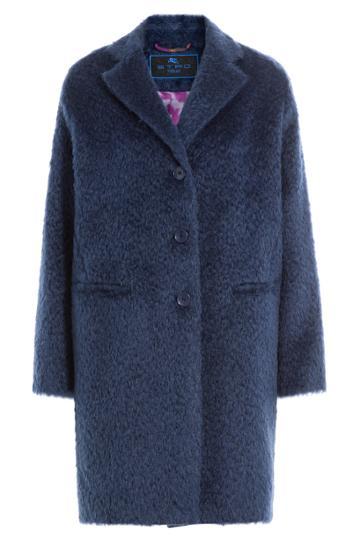 Etro Etro Mohair-wool Blend Coat - Blue
