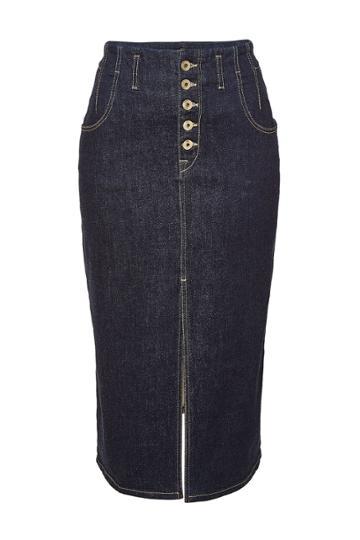 Jonathan Simkhai Jonathan Simkhai Cotton Rinsed Denim Front Slit Skirt