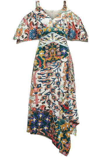 Peter Pilotto Peter Pilotto Printed Silk Cold-shoulder Maxi Dress