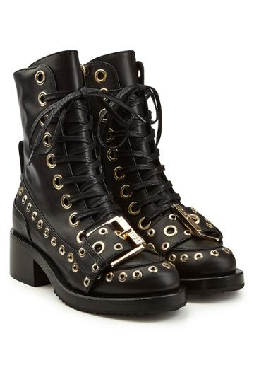N 21 N°21 Embellished Leather Ankle Boots