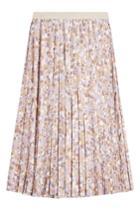 Agnona Agnona Pleated Midi Skirt With Silk