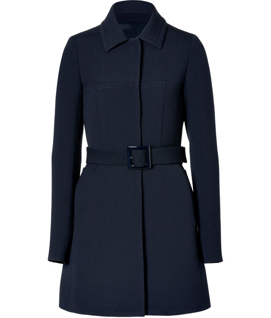 Jil Sander Navy Navy Belted Wool Silk Coat Lookmazing