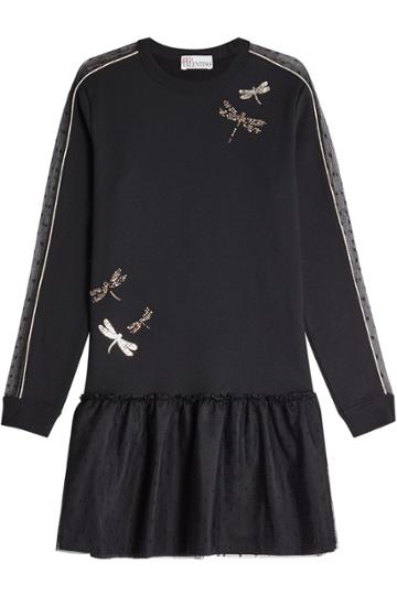 Red Valentino Red Valentino Cotton Sweatshirt Dress With Tulle Trim