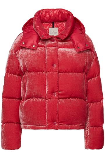 Moncler Moncler Caille Velvet Down Jacket With Silk