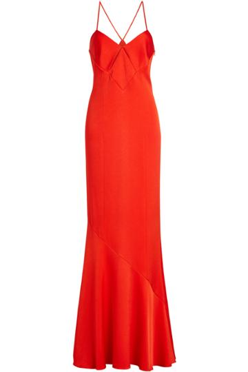 Galvan Galvan Satin Gown With Cut-out Detail
