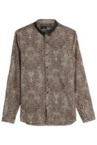 The Kooples The Kooples Leopard Print Cotton Shirt - Beige