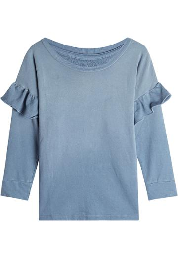 Current/elliott Current/elliott Ruffled Cotton Sweatshirt