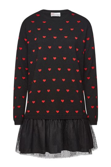Red Valentino Red Valentino Printed Mini Dress With Wool