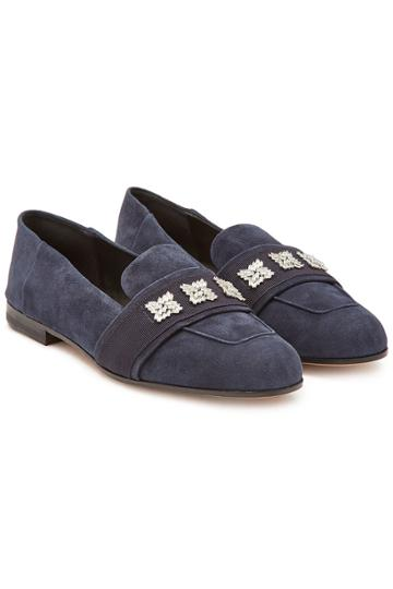 Max Mara Max Mara Claire Suede Loafers With Crystals
