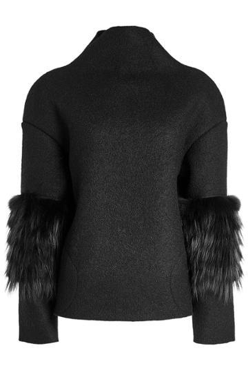 Saks Potts Saks Potts Wool Pullover With Fox Fur