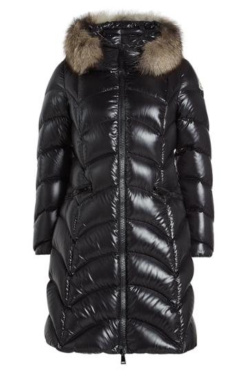 Moncler Moncler Quilted Down Coat With Fur-trimmed Hood