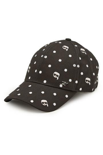 Karl Lagerfeld Karl Lagerfeld Karl Polka Dot Embroidered Cotton Baseball Cap
