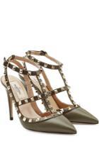 Valentino Valentino Ankle Strap Rockstud Leather Pumps - Green