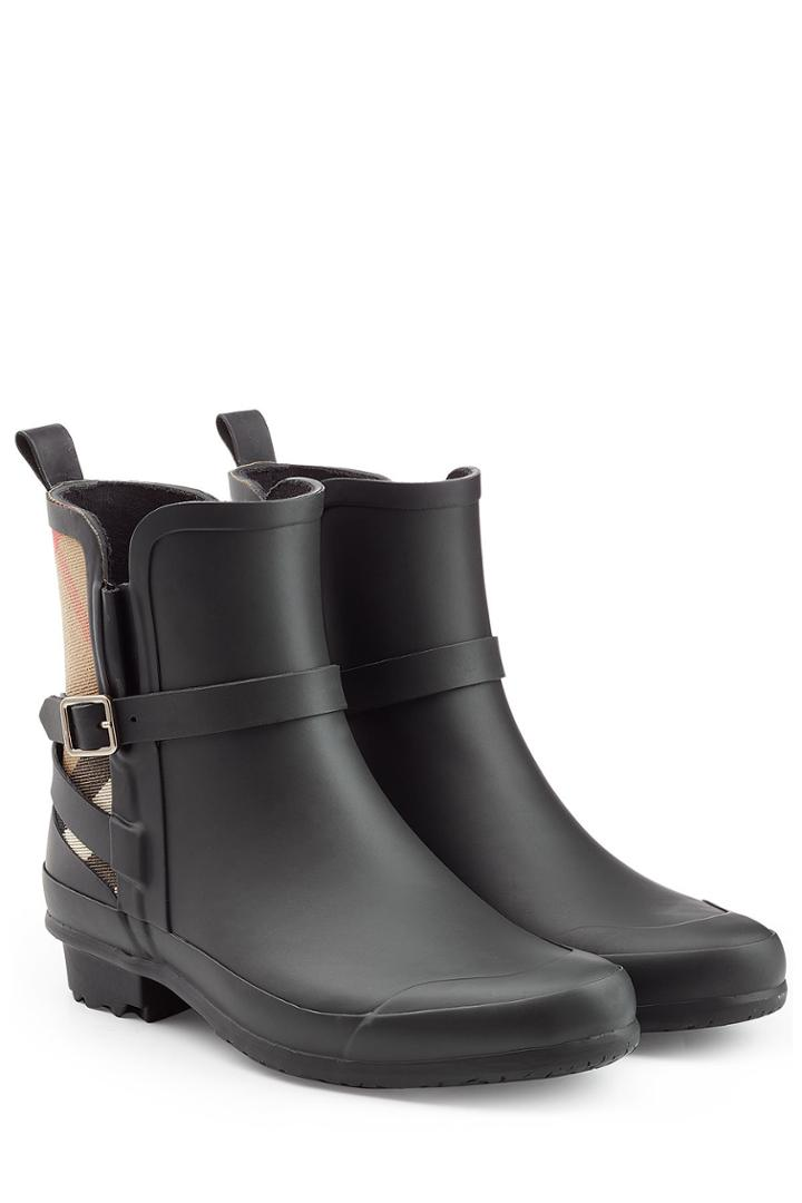 Burberry Burberry Matte Rubber Rain Boots With Check Panel