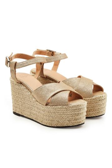 Castañer Castañer Espino Wedge Sandals With Metallic Leather