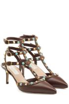 Valentino Valentino Rolling Rockstud Leather Kitten Heel Pumps - Brown