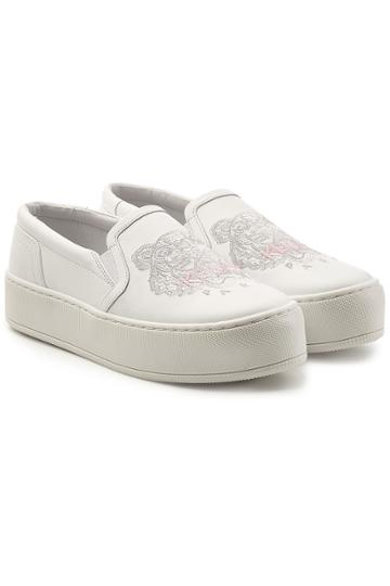 Kenzo Kenzo Embroidered Leather Slip-on Sneakers