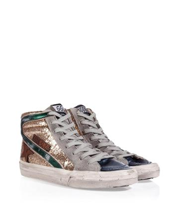 Golden Goose Leather Slide Hi-sneakers In Gold Glitter