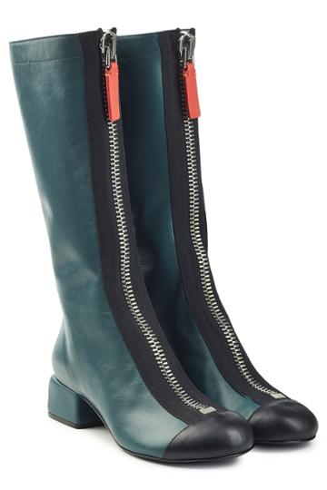 Marni Marni Leather Knee Boots With Zippers