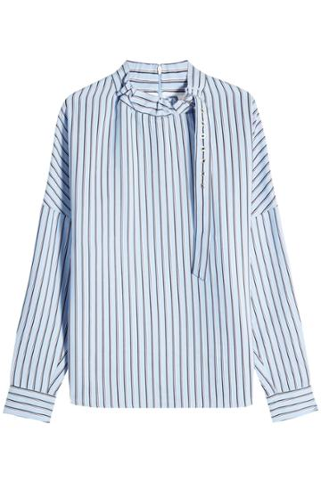 Tibi Tibi Striped Blouse With Buckled Collar