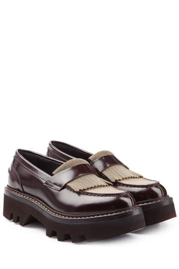 Brunello Cucinelli Brunello Cucinelli Leather Loafers With Embellishment - Brown