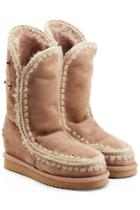 Mou Mou Eskimo Wedge Tall Sheepskin Boots With Embroidery - Camel