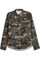 Valentino Valentino Embellished Camouflage Cotton Shirt