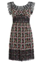 Anna Sui Anna Sui Printed Silk Dress With Lace Trim