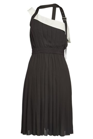 Karl Lagerfeld Karl Lagerfeld Pleated Dress With Strap And Belt