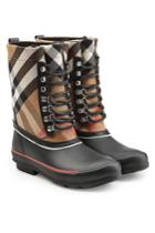 Burberry Burberry Rubber Rain Boots With Checked Fabric And Leather