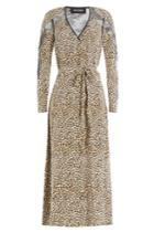 The Kooples The Kooples Animal Printed Silk Dress With Lace