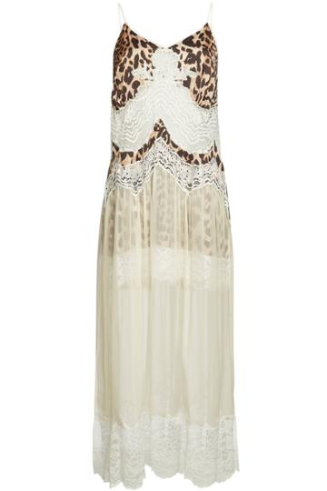 Paco Rabanne Paco Rabanne Animal Print Slip Dress With Lace