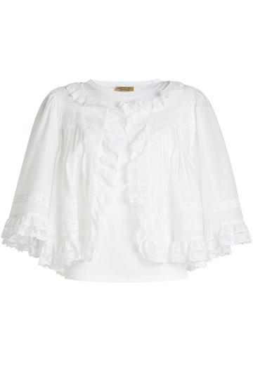 Burberry Burberry Cotton Top With Lace Ruffles