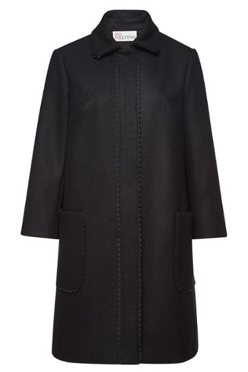 Red Valentino Red Valentino Wool-cashmere Coat With Scalloped Trim