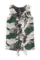 Anna Sui Anna Sui Printed Silk Shell With Ruffled Front