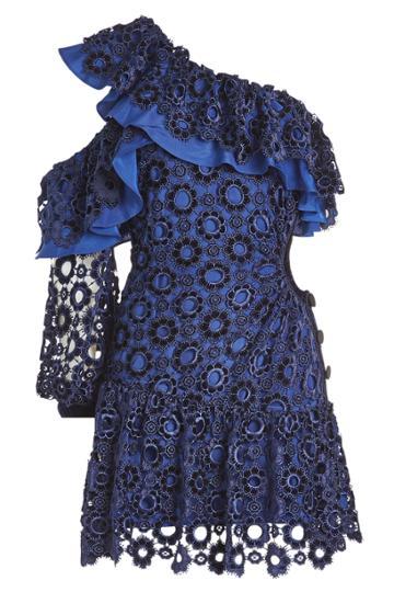 Self-portrait Self-portrait Asymmetric Floral Lace Mini Dress