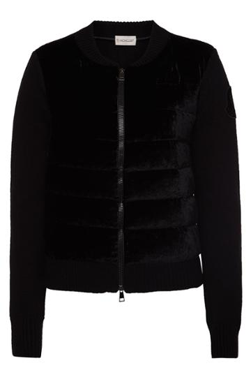 Moncler Moncler Cardigan In Wool And Cashmere With Down Filling