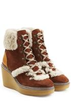 See By Chloé See By Chloé Suede Wedge Boots With Shearling - Brown