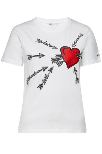 Red Valentino Red Valentino Embroidered Cotton T-shirt