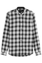 The Kooples The Kooples Printed Cotton Shirt With Leather