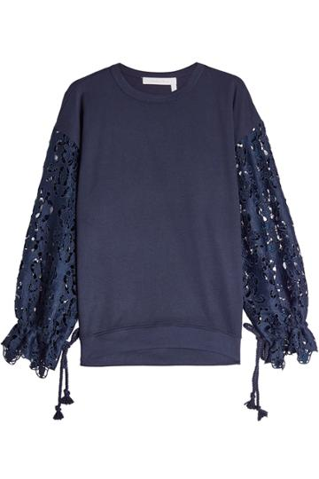 See By Chlo See By Chlo Lace And Jersey Top
