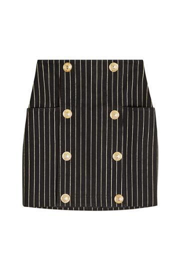 Balmain Balmain Striped Skirt With Embossed Buttons