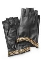 Karl Lagerfeld Karl Lagerfeld Embellished Fingerless Leather Gloves - Black