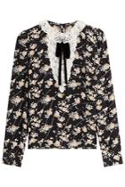 The Kooples The Kooples Printed Silk Blouse With Lace