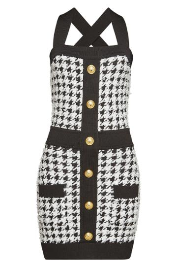 Balmain Balmain Knit Mini Dress With Embossed Buttons